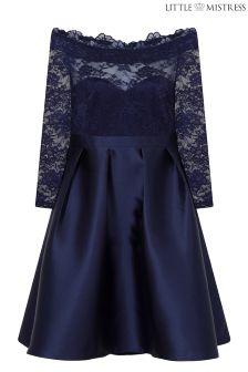 Little Mistress Curve Bardot Lace Prom Dress