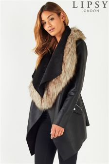 Lipsy Faux Leather Waterfall Coat