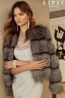 Lipsy Cropped Faux Fur Coat