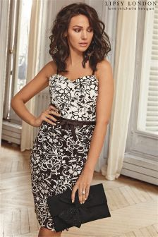 Lipsy Love Michelle Keegan All Over Lace Contrast Bodycon Dress
