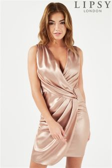 Lipsy Sleeveless Ruched Wrap Mini Dress