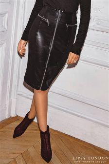 Lipsy Loves Michelle Keegan Zip PU Panel Pencil Skirt