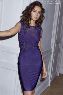 Lipsy Loves Michelle Keegan Ruched Sequin Detail Bodycon Dress