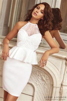 Lipsy Loves Michelle Keegan Cornelli Detail Peplum Bodycon Dress