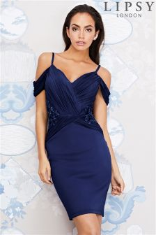 Lipsy Ruched Cold Shoulder With Trim Detail Bodycon Dress