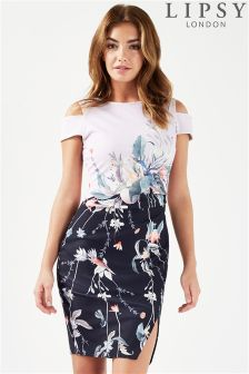 Lipsy Printed Peep Shoulder Bodycon Dress