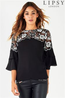 Lipsy Mono Lace Frill Sleeve Top