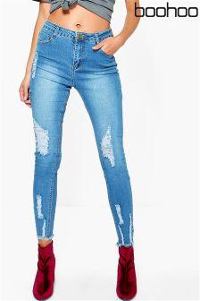 Boohoo Highwaisted Destroyed Hem Jeans