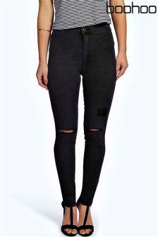 Boohoo Petite Faye High Rise Split Knee Skinny Jeans