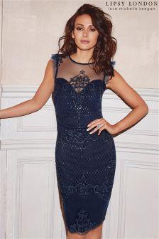 Lipsy Love Michelle Keegan Petite Sequin Artwork Frill Sleeve Bodycon Dress