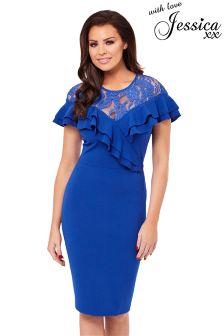Jessica Wright Frill Lace Midi Dress