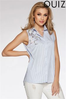 Quiz Sleeveless Embroidered Shirt