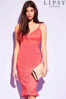Lipsy All Over Lace Flute Hem Midi Dress