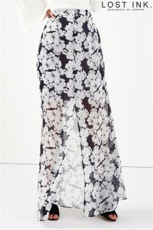 Lost Ink Button Through Print Maxi Skirt