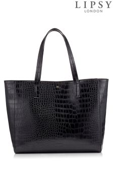 Lipsy Faux Croc Shopper Bag