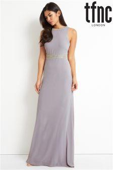 Sukienka maxi z wycięciem w szpic na plecach tfnc