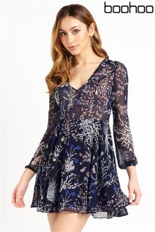 Boohoo Petite Printed Smock Dress