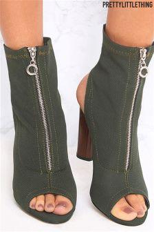 PrettyLittleThing Open Toe Sock Boots