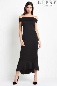 Lipsy Petite Bardot Flute Hem Maxi Dress