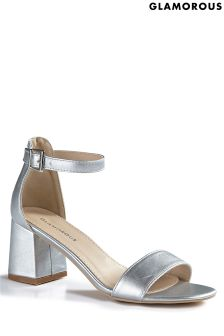 Glamorous Metallic Low Heel Sandals