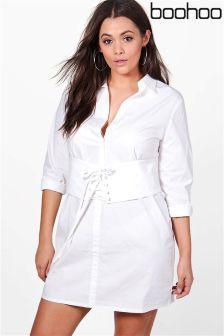 Boohoo Plus Corset Shirt Dress