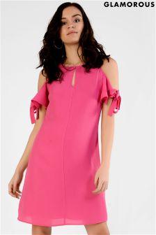 Glamorous Bow Sleeve Cold Shoulder Dress