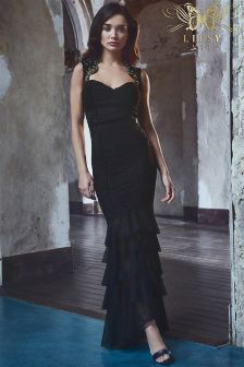 Lipsy VIP Sweetheart Lace Neckline Ruched Maxi Dress