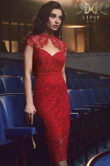Lipsy VIP Sweetheart Neckline Lace Midi Dress