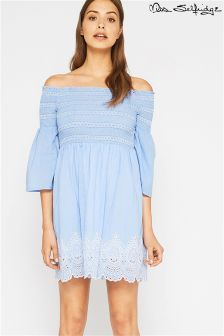 Miss Selfridge Shirred Bardot Embroidered Sundress