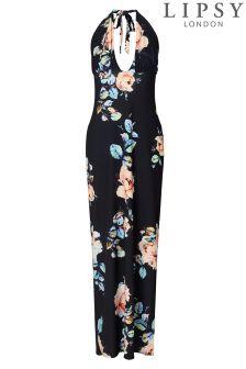 Lipsy Floral Print Halterneck Maxi Dress