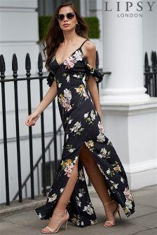 Lipsy Floral Print Ruffle Cold Shoulder Maxi Dress