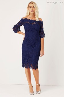 Paper Dolls Lace Bardot Bodycon Dress
