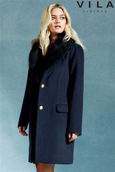 Vila Detachable Faux Fur Collar Coat