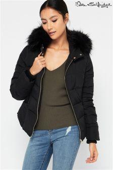 Miss Selfridge Petite Faux Fur Hood Padded Jacket