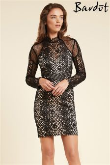 Bardot Long Sleeve Serpentine Dress