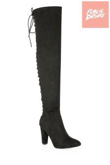 Public Desire Block Heel Over The Knee Boots