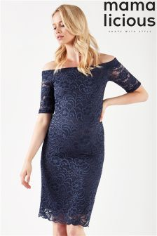 Mamalicious Maternity Off The Shoulder Lace Dress