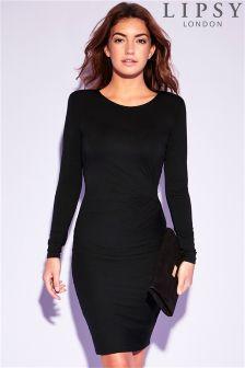 Lipsy Shoulder Pad Long Sleeve Knot Dress