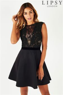 Lipsy Faux Pearl Lace Top Skater Dress