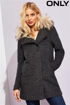 Only Faux Fur Trimmed Woolen Coat