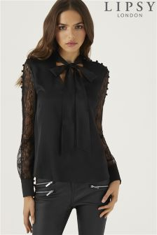 Lipsy Neck Tie Rouleau Lace Sleeve Top