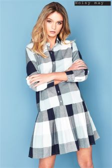 Noisy May Long Sleeve Checkered Shirt Dress