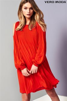 Vero Moda Long Sleeve Cold Shoulder Swing Dress