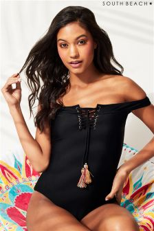 South Beach Lace Up Bardot Swimsuit