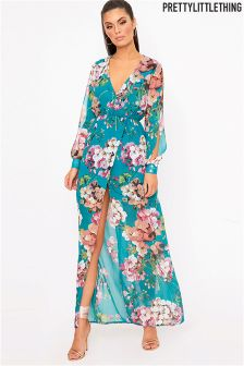 PrettyLittleThing Split Sleeve Detail Floral Maxi Dress