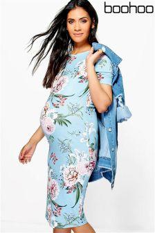Boohoo Maternity Floral Print Midi Dress
