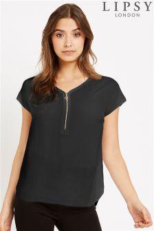 Lipsy Short Sleeve Zip Front Blouse