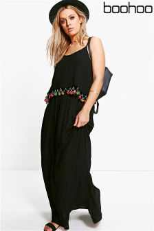 Boohoo Plus Pom Pom Trim Maxi Dress