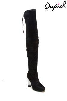 Buty za kolano z przejrzystymi obcasami Qupid