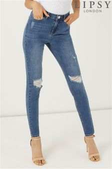 Lipsy Selena High Rise Distressed Skinny Jeans